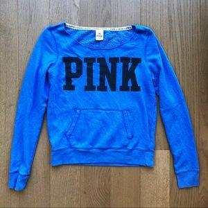Victoria's Secret PINK Wide Neck Blue Sweatshirt